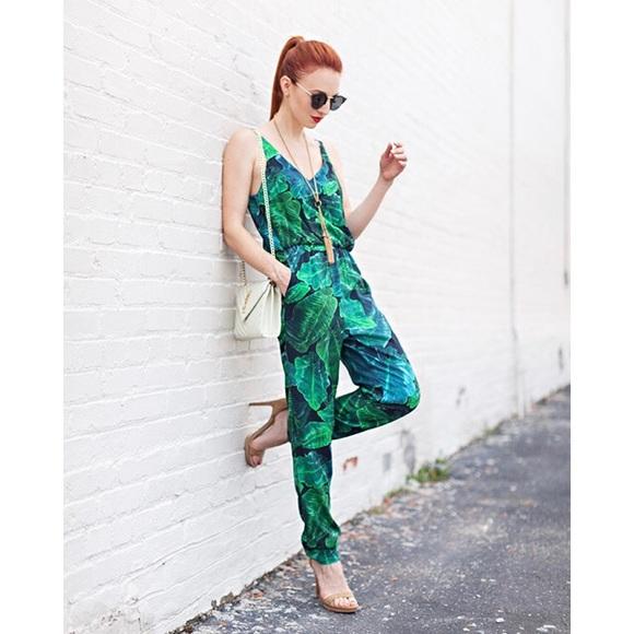 b6c1560e41f Topshop Palm Leaf Jumpsuit
